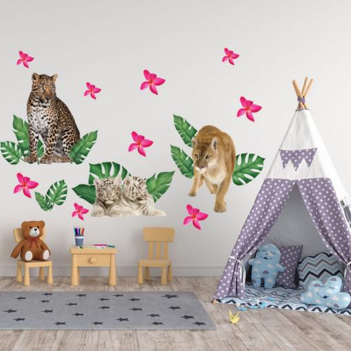 Set stickere decorative perete copii - Animalele Junglei8 , 60x90cm