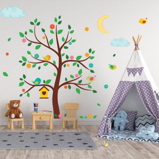 Set stickere decorative perete copii - Copacul cu pasarele , 60x90 cm
