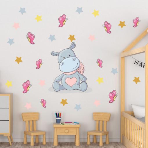 Set stickere decorative perete copii - Hipopotamul vesel, 60x60 cm