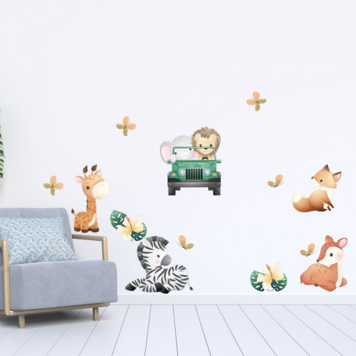 Set stickere decorative perete copii - Safary Animals, 60x90cm