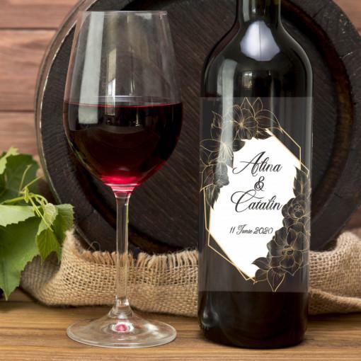 Sticla vin Personalizata - Nume si data