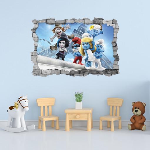 3D Sticker perete 60x90cm - Smurfs 3