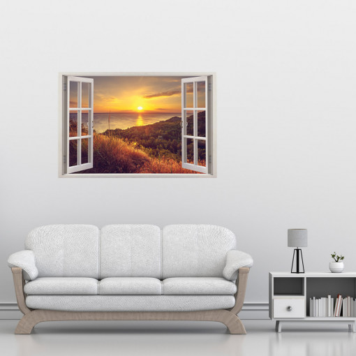 Fereastra 3D, Sticker perete - Peisaj cu apus