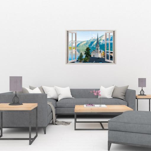 Fereastra 3D, Sticker perete - Peisaj cu orasel de munte