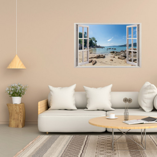 Fereastra 3D, Sticker perete - Peisaj cu plaja
