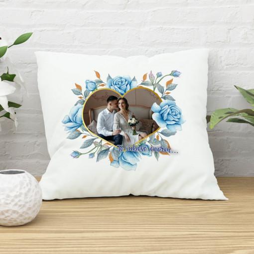Perna personalizata cu o poza si mesaj - Trandafiri albastri