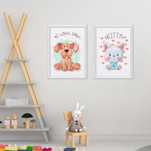 Set 2 tablouri - Catelul & Pisica