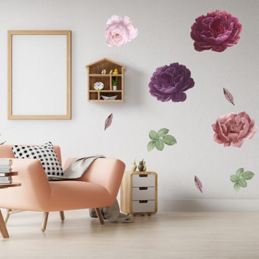 Set stickere decorative perete - Bujori, 60x90cm