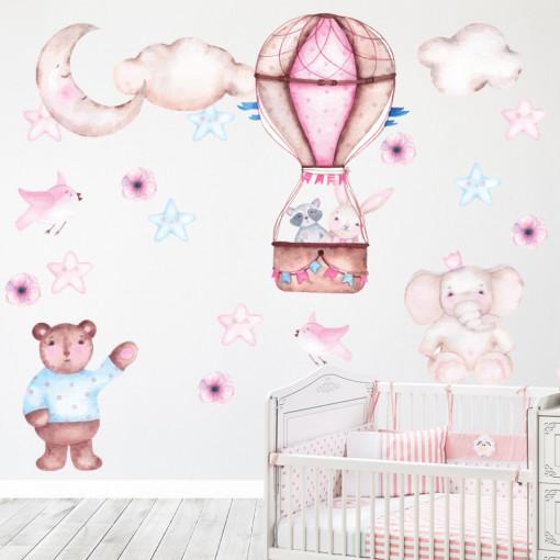 Set stickere decorative perete copii - Animale & Baloane, 60x90cm