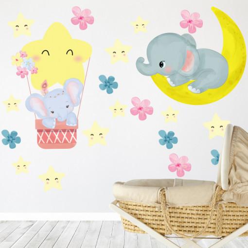 Set stickere decorative perete copii - Elefantul somnoros8 , 60x60cm