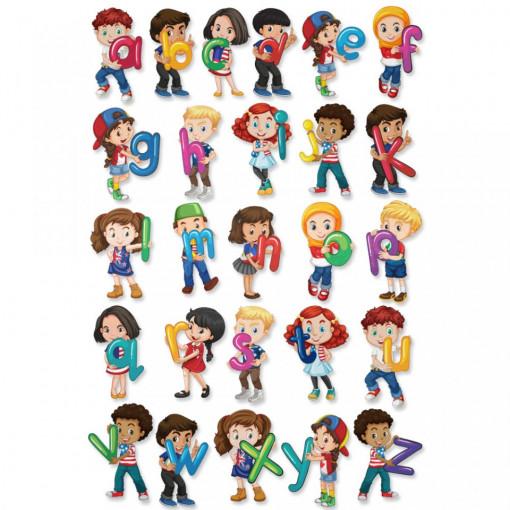 Stickere Educationale copii - Alfabetul cu copii, set 60x90cm