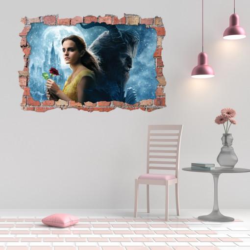 3D Sticker perete 60x90cm - Beauty and Beast