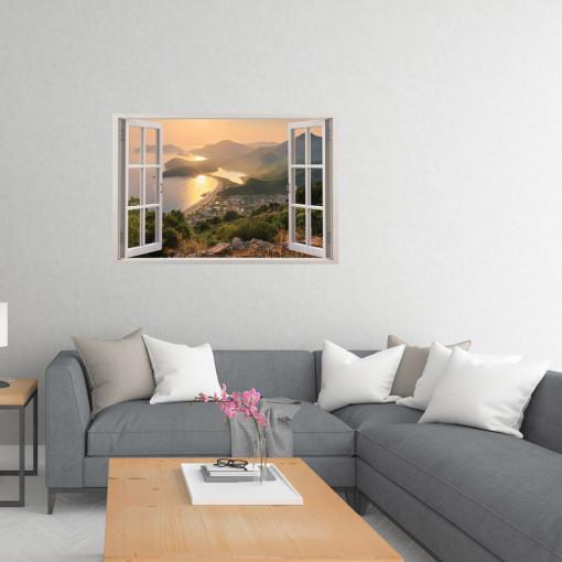 Fereastra 3D, Sticker perete - Peisaj cu apus de soare