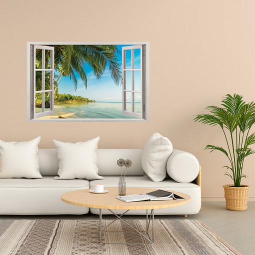 Fereastra 3D, Sticker perete - Peisaj cu tarmul ceanului