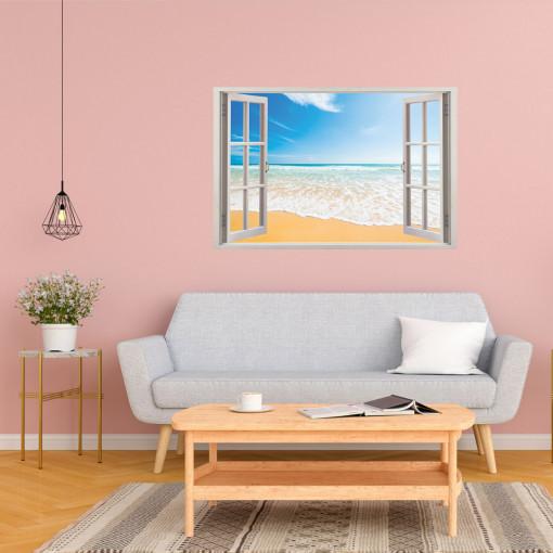 Fereastra 3D, Sticker perete - Peisaj cu tarmul marii