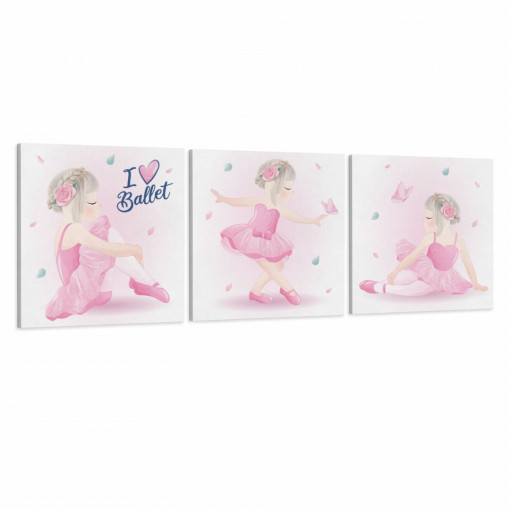 Set 3 Tablouri Canvas, I Love Ballet