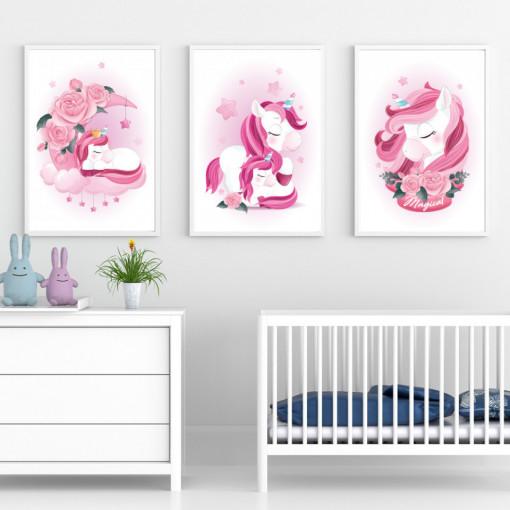 Set 3 tablouri - Unicornul