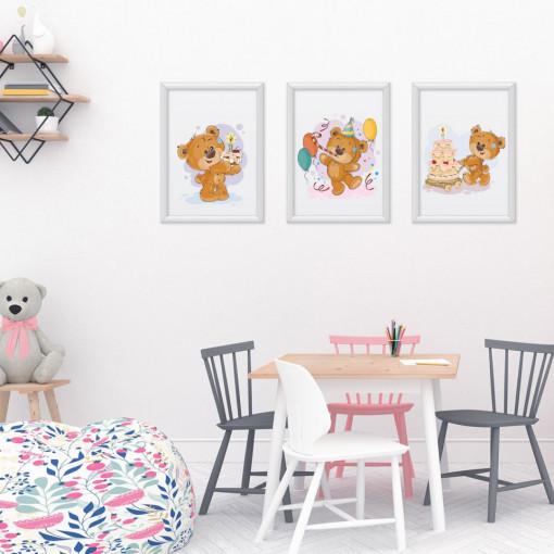 Set 3 tablouri - Ursuletii cu tort