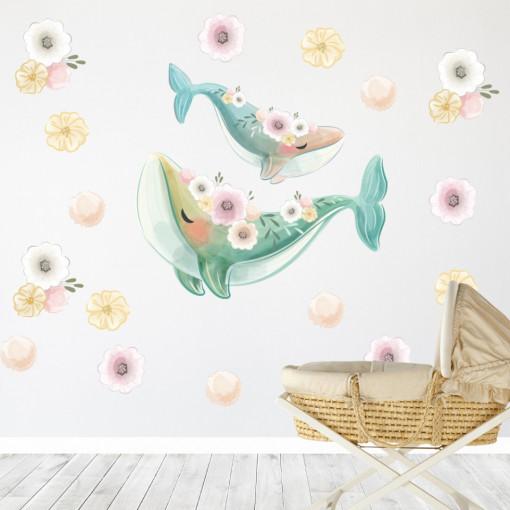 Set stickere decorative perete copii - Balenele, 60x60cm