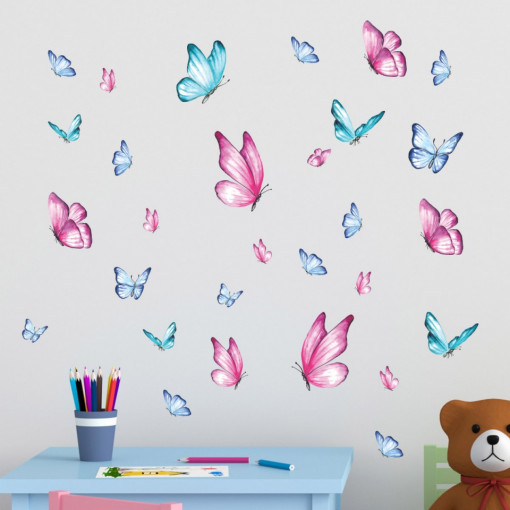 Set stickere decorative perete copii - Fluturasi 40x60