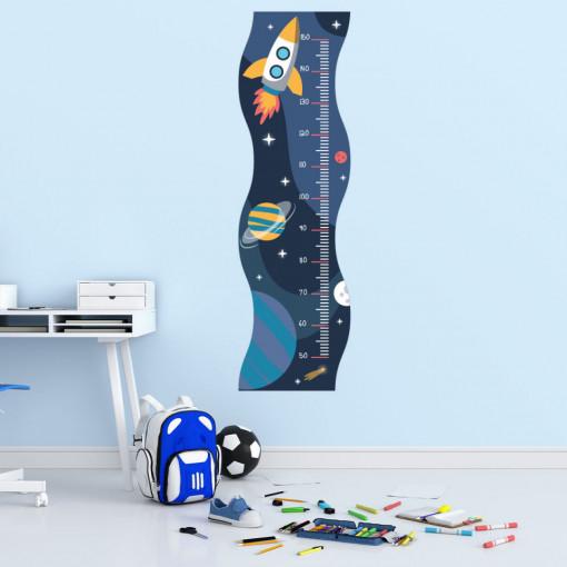 Sticker perete Masurator pentru copii - Spatiul Cosmic, 40x120 cm