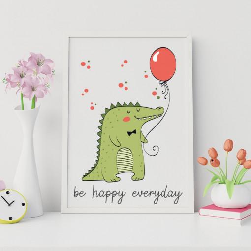 Tablou - Crocodil - Be happy everyday