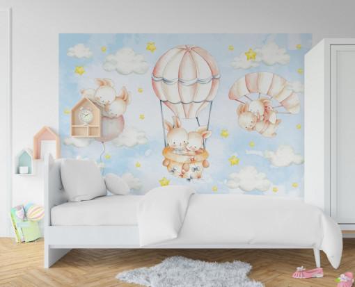 Fototapet autoadeziv copii - Iepurasii zboara cu baloane