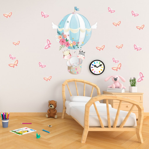 Set stickere decorative perete copii - Animale zburatoare cu fluturasi, 60x60cm