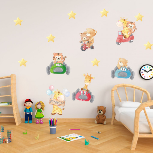 Set stickere decorative perete copii - Animalute la curse, 60x90cm