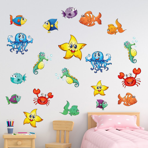 Set stickere decorative perete copii - Pestii2 , 60x60 cm