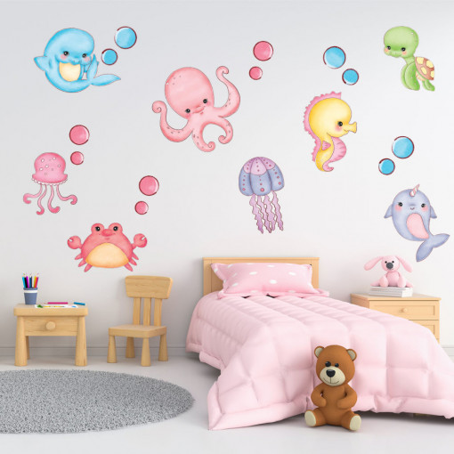 Set stickere decorative perete copii - Pestisorii veseli, 60x90cm