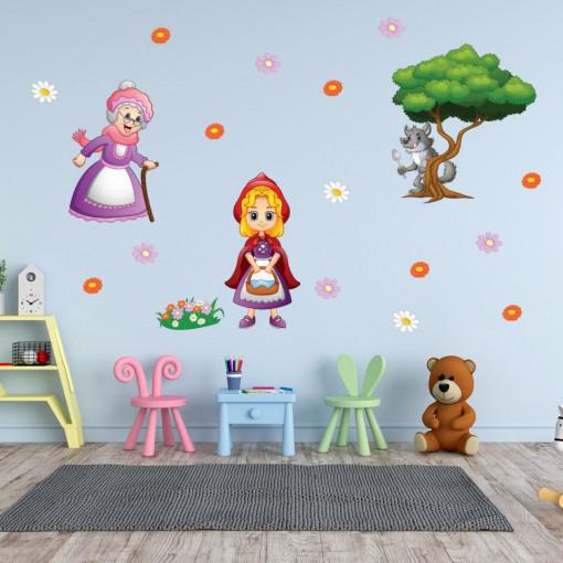 Set stickere decorative perete copii - Scufita Rosie 60x90