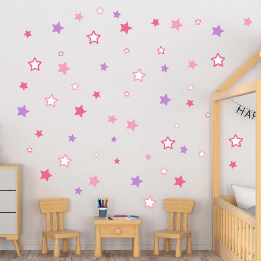 Set stickere decorative perete copii - Stelute multicolore roz si mov , 60x60cm