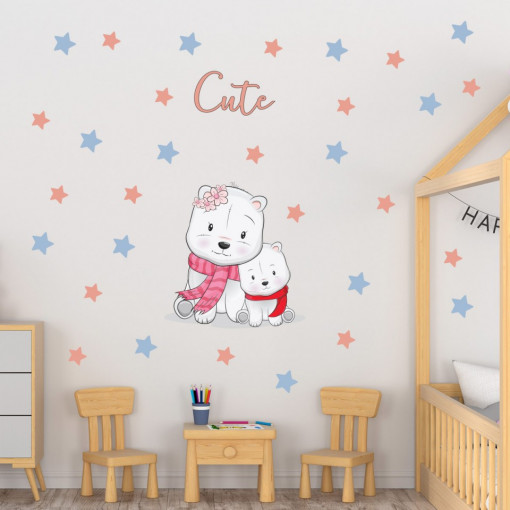 Set stickere decorative perete copii - Ursuletii Cute 60x90