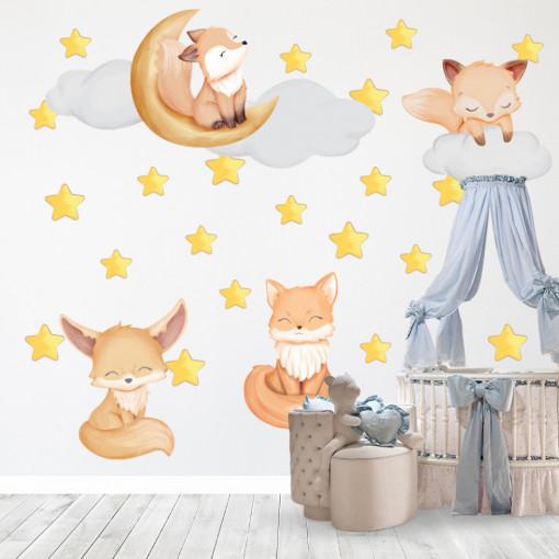 Set stickere decorative perete copii - Vulpitele , 60x90 cm