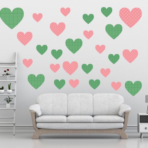 Set stickere decorative perete - Inimioare7, 60x60cm