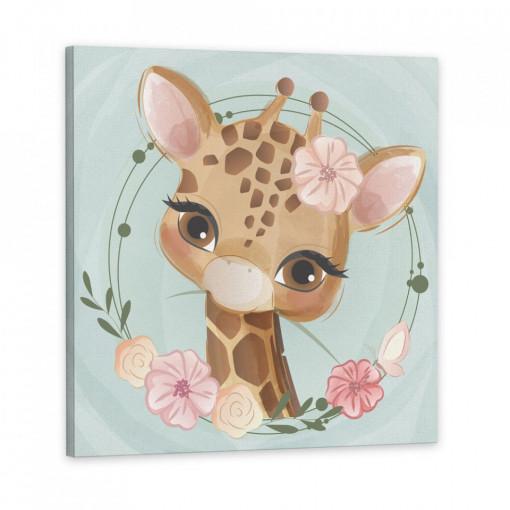 Tablou Canvas, Girafa cu floricele