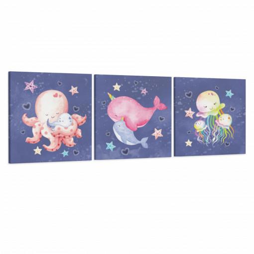 Set 3 Tablouri Canvas, Animale Marine