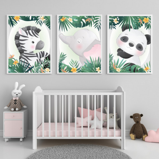 Set 3 tablouri - Zebra, Elefantul si Panda