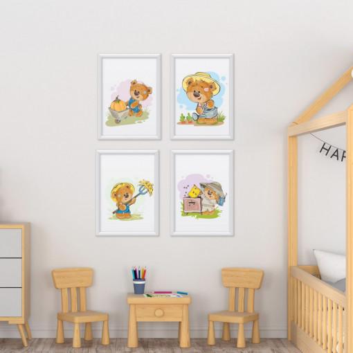 Set 4 tablouri - Ursuletii Gradinari