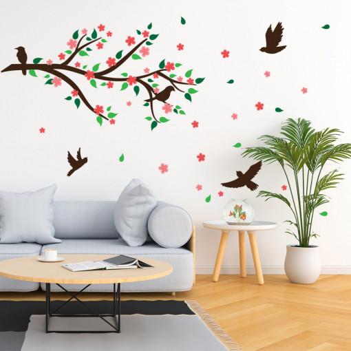 Set stickere decorative perete - Crenguta cu flori de cires si pasari, 60x90 cm