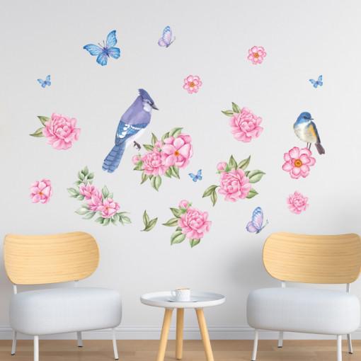 Set stickere decorative perete - Flori & Pasarele & Fluturi, 60x90cm