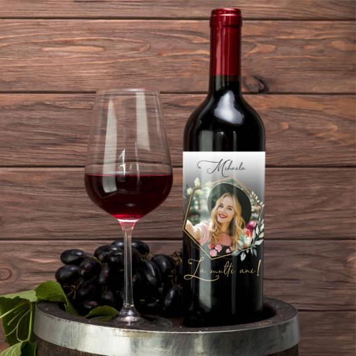 Sticla vin Personalizata - Poza, nume si mesaj