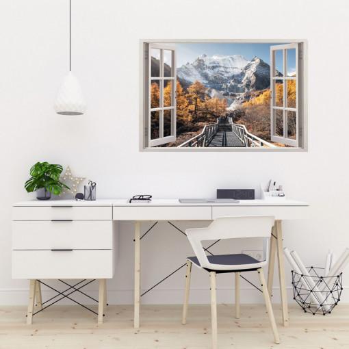 Fereastra 3D, Sticker perete - Peisaj cu munte toamna