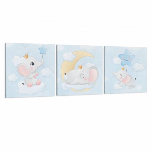 Set 3 Tablouri Canvas, Elefantul si steluta