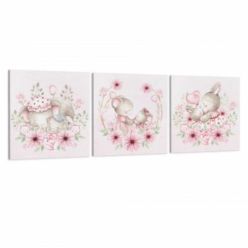 Set 3 Tablouri Canvas, Mamele & Puisorii