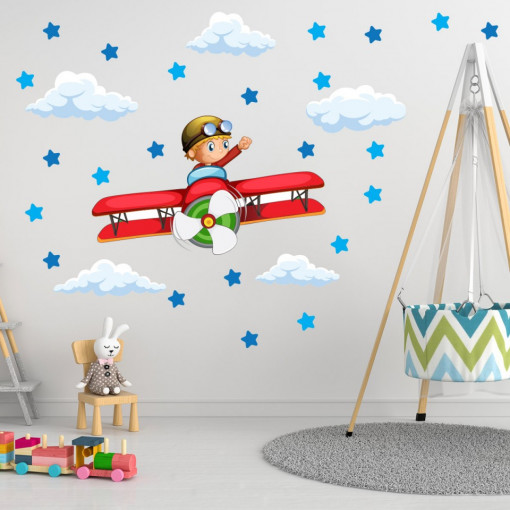 Set stickere decorative perete copii - Avionul 60x90cm