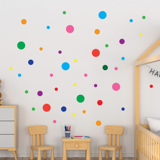 Set stickere decorative perete copii - Cercuri colorate2, 60x60 cm