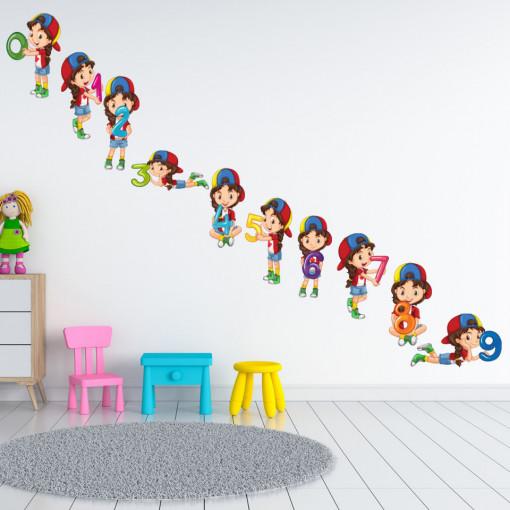 Set stickere decorative perete copii - Fetele cu numere4 , 60x60 cm