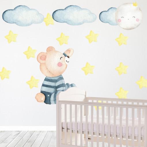 Set stickere decorative perete copii - Ursuletul cu stelute , 60x60cm
